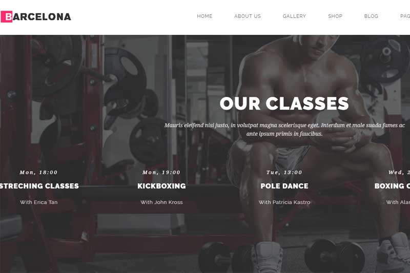 gym web design sample